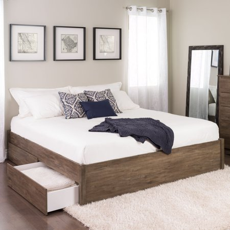 King Bed Drawer (Prepac King Select 4-Post Platform Bed with 2 Drawers, Drifted Gray)