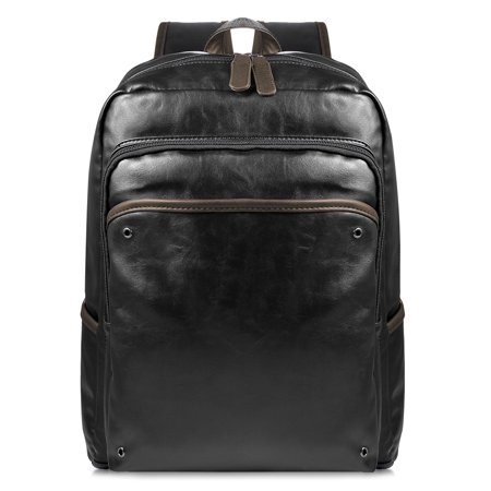 Leather Backpack-Fitbest Mens Womens Large Capacity PU Leather Backpack Multi-Functional Laptop Computer Backpack Casual and Vintage School Traveling Bag - Large Leather Laptop Backpack