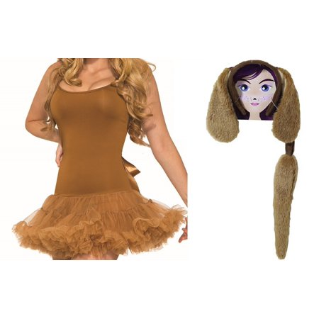 Brown Dog Puppy Kit Crinoline Dress Ears Headband Tail Pet Costume Accessory Set