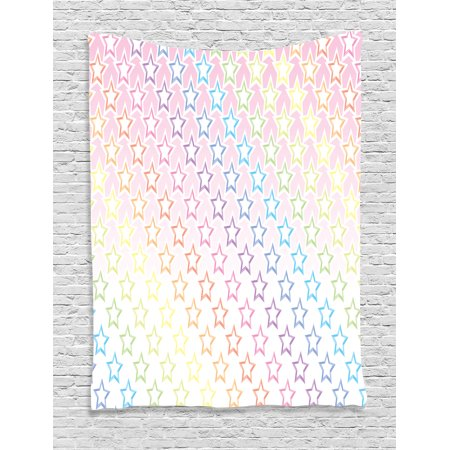 House Decor Tapestry  Stars In Rainbow Colors Galaxy Milky Way Teen Girls Room Nursery Decor Print  Wall Hanging For Bedroom Living Room Dorm Decor  60W X 80L Inches  Pink Multi  By Ambesonne