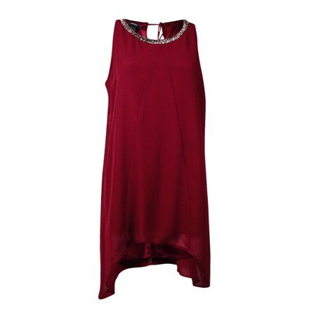 Keyhole Beaded Halter Top - Alfani Women's Handkerchief Hem Beaded Halter Tunic Top (8, New Burgundy)