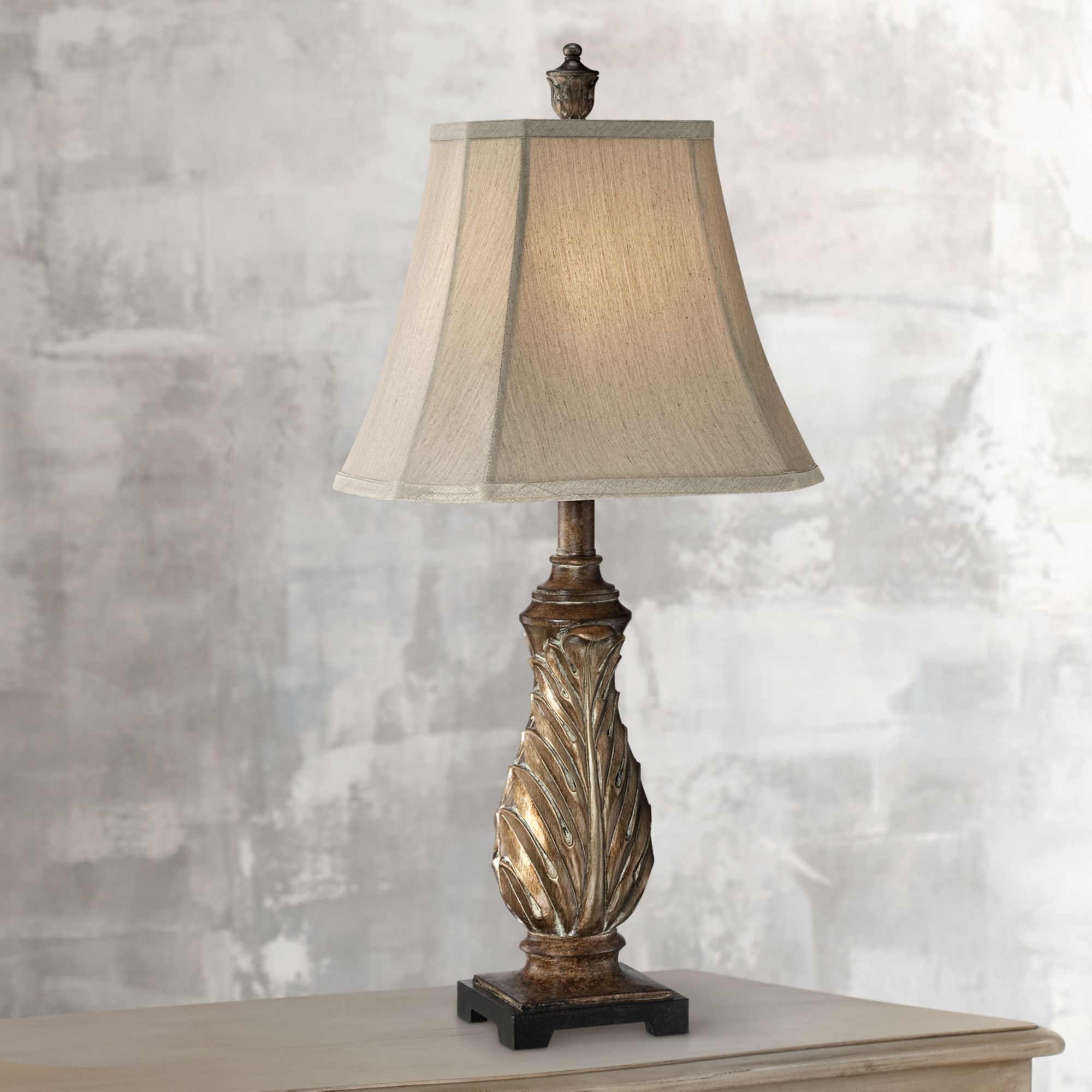 Regency Hill Traditional Table Lamp Aged Gold Leaf Pattern Tan Bell Shade for Living Room Family Bedroom Bedside Nightstand Office