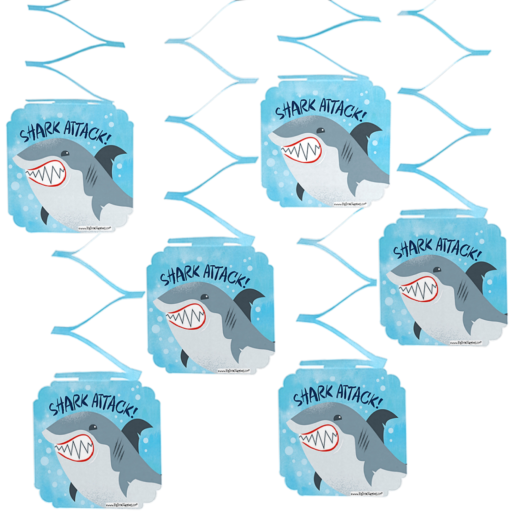 Shark Zone - Jawsome Shark Party or Birthday Party Hanging Decorations - 6 Count