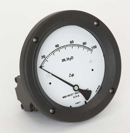 MIDWEST INSTRUMENT 142-AC-00-OO-100H Pressure Gauge, 0 to 100 In H2O