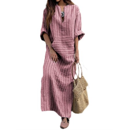 Women's V-Neck Long Sleeve Fashion Striped Maxi Dresses