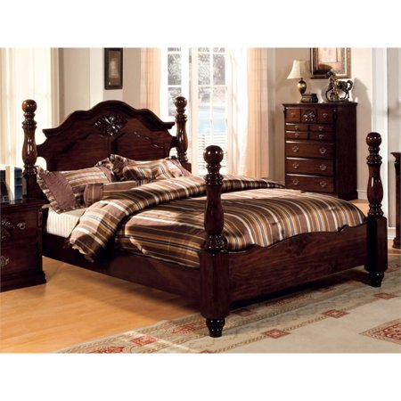 Furniture of America Cathie California King Poster Bed in Dark Pine