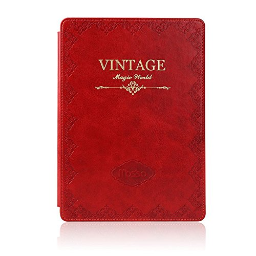 Mosiso - Classic Retro Book Style Smart Case for iPad Air 2 (2nd Gen.) - Slim-Fit Multi-angle Stand Sleeve Cover, Red