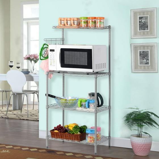 Ktaxon 4 Tier Microwave Stand Storage Rack, Kitchen Wire Shelving ...