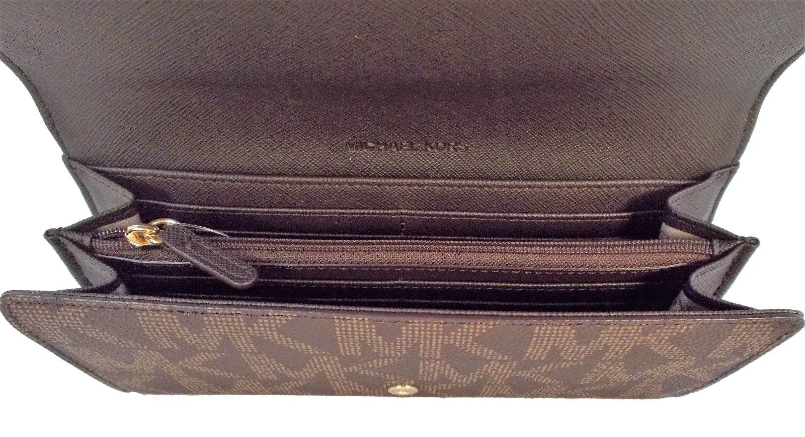 fecde0d32e03bc Michael Kors - Michael Kors Jet Set Travel PVC Signature Carryall LTR  Clutch Wallet in Brown … - Walmart.com