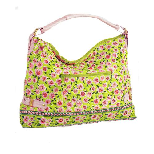 Maggi B French Country Rose Blossom Quilted Large Hobo Tote