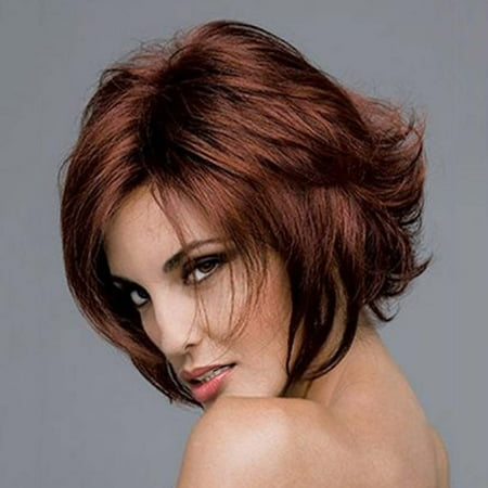 Charming Short Wavy Hair Wigs Pixie Cut Synthetic Hair Burgundy Wigs For