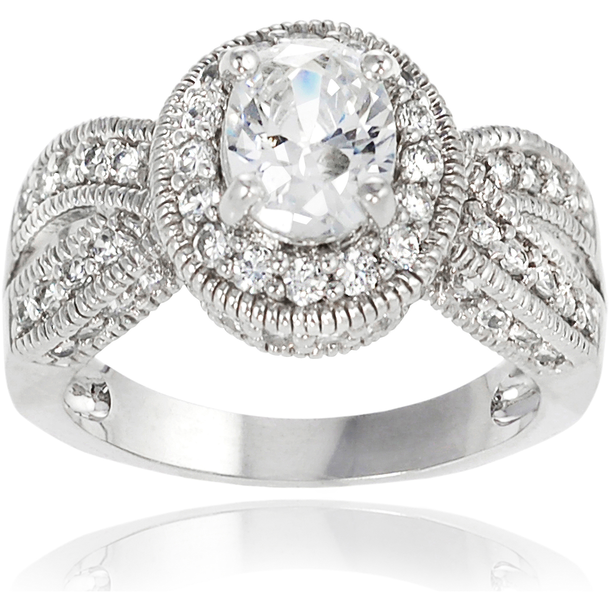 Alexandria Collection Sterling Silver Oval Cubic Zirconia Engagement Ring