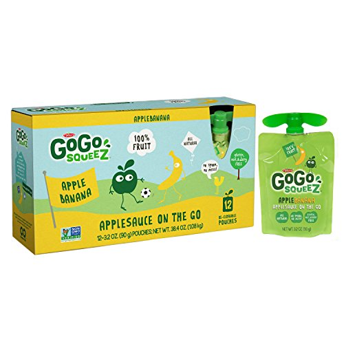 GoGo squeeZ Applesauce, Apple Banana, 72 Pouches (6 Boxes...