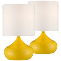 """360 Lighting Mid Century Modern Accent Lamps 14 3/4"""" High Set of 2 Canary Yellow Droplet White Drum Shade for Kids Room Bedroom"""