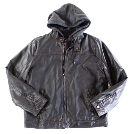 INC NEW Brown Mens Size Large L Faux Leather Hooded Motorcycle (Guess Mens Faux Leather Detachable Hood Motorcycle Jacket)