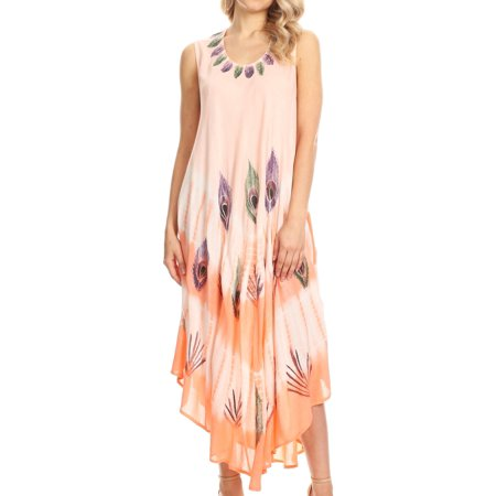 Sakkas Peacock Feather Caftan Dress / Cover Up - Blush - One Size