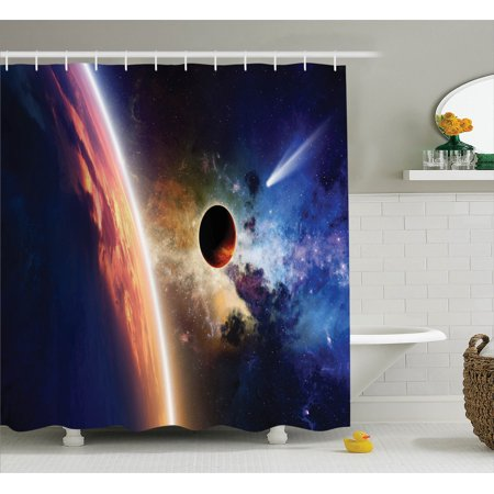 Outer Space Decor Shower Curtain Set  Comet Approaches Glowing Planet Scientific Facts Realities In Solar System World Scene  Bathroom Accessories  69W X 70L Inches  By Ambesonne