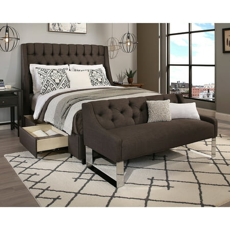 Rdh Republic Design House Cambridge Queen Size Grey Tufted Headboard Storage Bed And