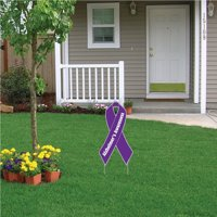Alzheimer's Awareness Ribbon Yard Sign with Stakes