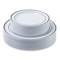 60 Pack Premium Heavy Duty Disposable Plastic Plates - (30 Dinner + 30 Salad Combo) - Silver Trim Real China Design by Aya's Cutlery Kingdom