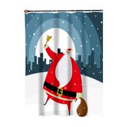"""""""Santa in the City"""" Fabric Shower Curtain"""