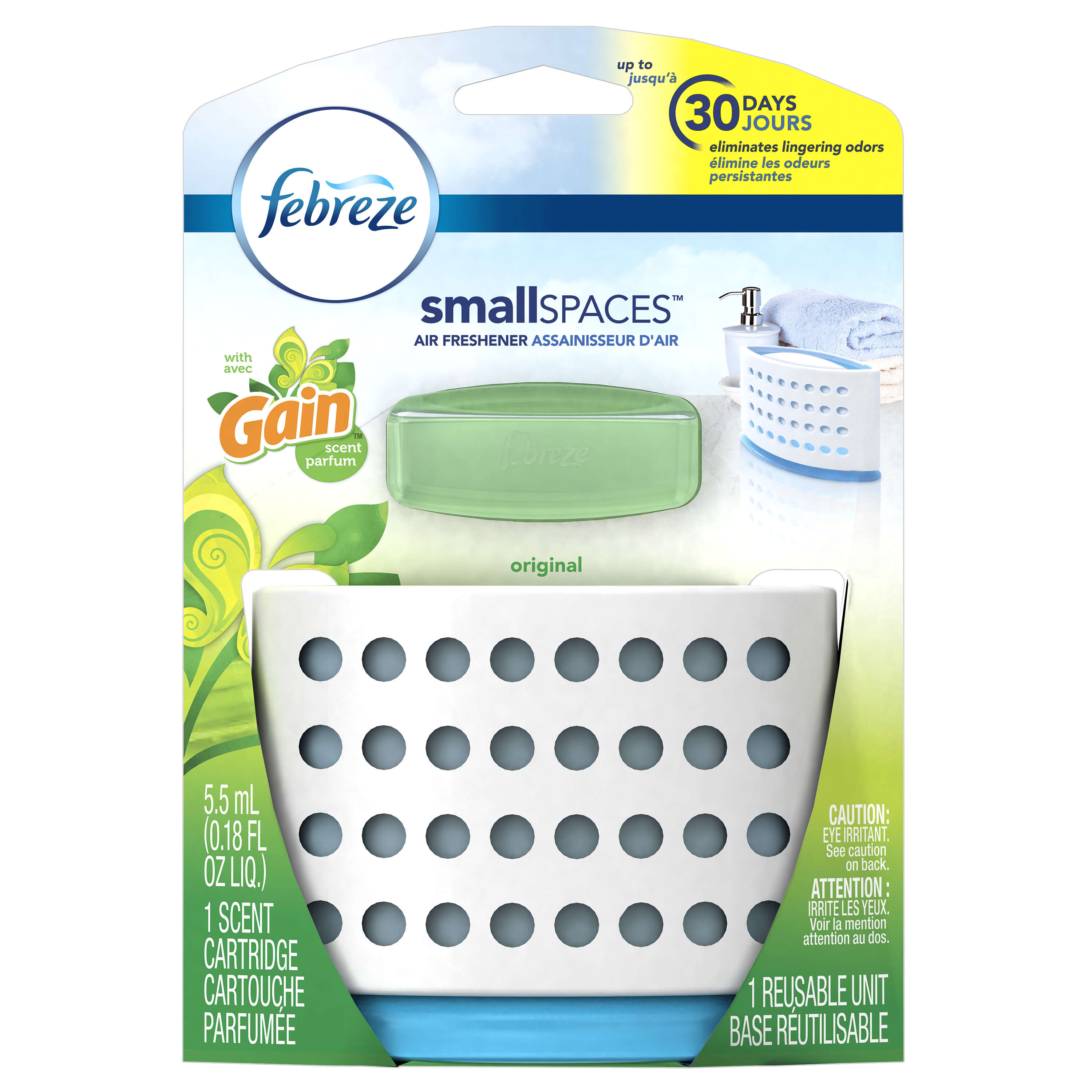 Febreze Small Spaces Air Freshener Starter Kit, Gain Original Scent, 1 Count