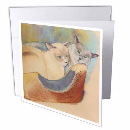3dRose Cats two cats Tonkinese cats cuddling pastel painting pet portrait cats cat bed, Greeting Cards, 6 x 6 inches, set of 6 Angel Cat Greeting Card
