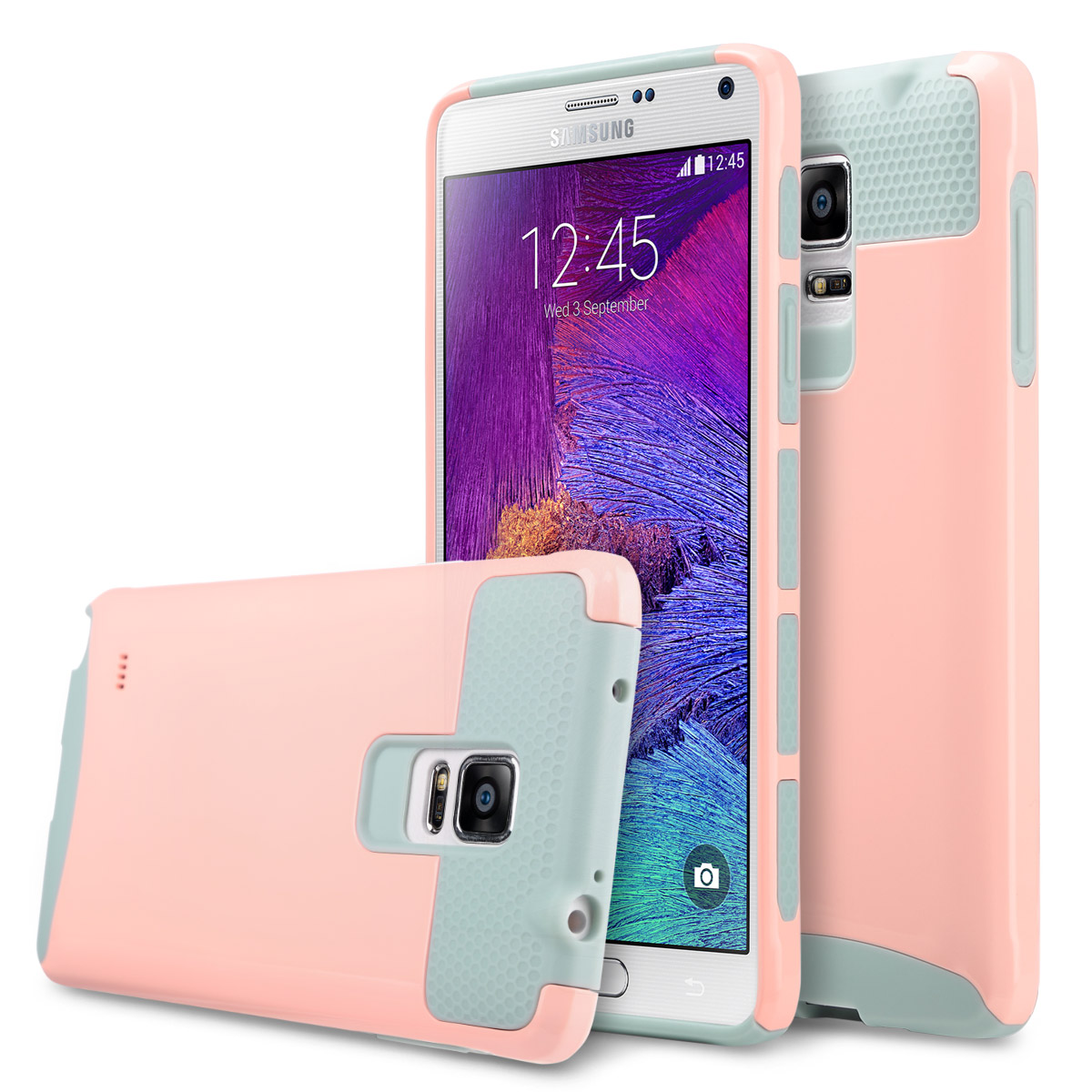 Galaxy Note 4 Case, ULAK Slim Fit Protection Case Shockproof Hard Rugged Ultra Protective Back Rubber Cover with Dual Layer Impact Protection for Samsung Galaxy Note 4,Pink/Grey