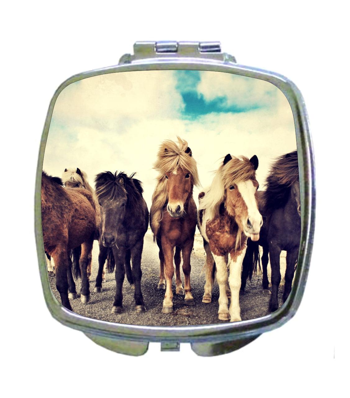 Horse Trail Animal Wildlife Horses Nature Design Compact Square Face Makeup Mirror Walmart Com Walmart Com