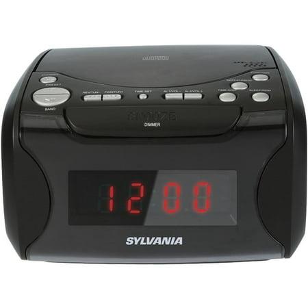 SYLVANIA SCR4986 USB-Charging CD Dual Alarm Clock Radio ()