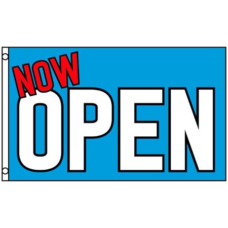 NOW OPEN Flag Blue Business Banner 3 x 5 Foot Grand Opening Advertising Sign New - Now Showing Banner