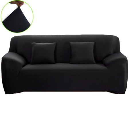 Polyester Spandex Fabric 1-Piece Stretch Slipcover For Chair Loveseat Sofa Without Pillow,Black ()