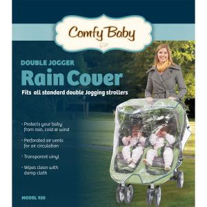 Babyroues Comfy Baby Universal Double Jogging Stroller Raincover - Protects Your Baby from Rain - Cold and Wind - Clear Vinyl - Wipes Clean with Damp Cloth