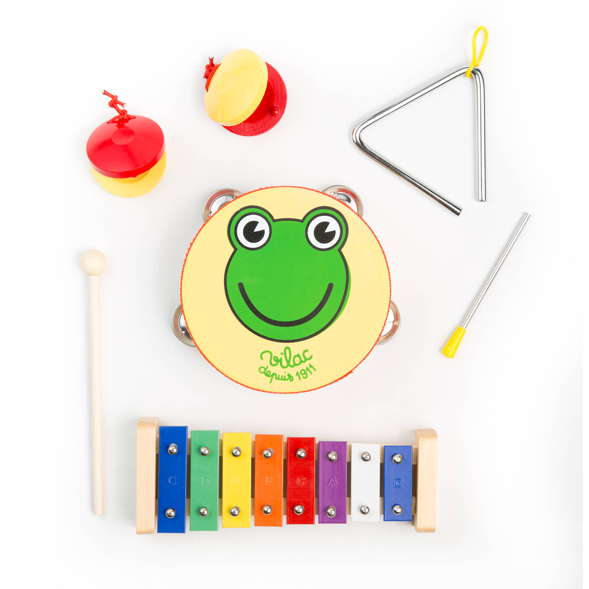 "Kayata Kids Percussion Set includes 4"" Triangle, Bell, Xylophone and Castanet"