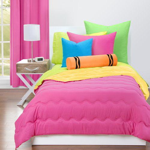 Crayola Hot Magenta and Laser lemon Reversible Comforter Set