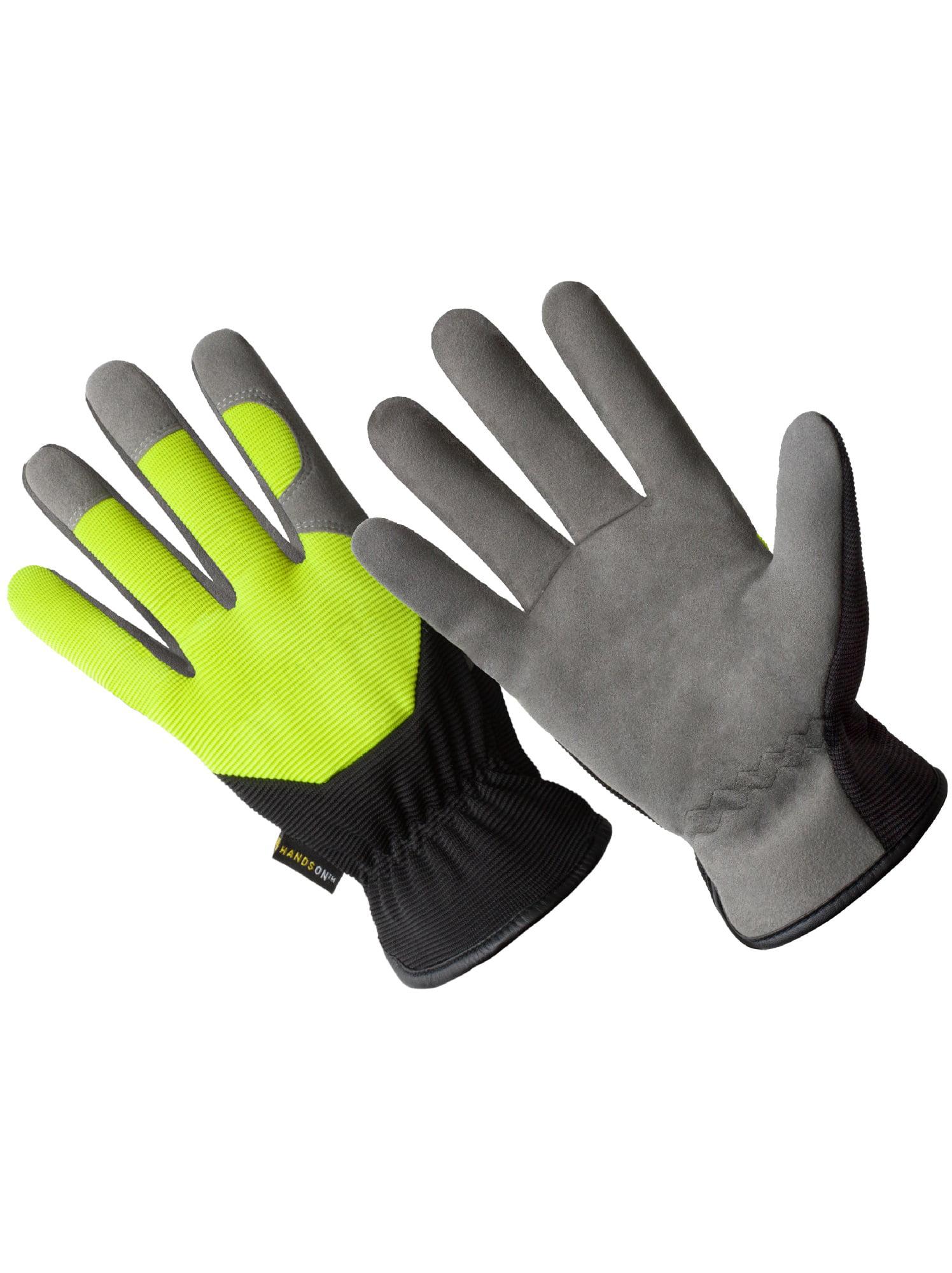 HD0002-M, Slip-On Synthetic Leather Hi-Dexterity Washable Work Glove, Black/Hi-Viz Green