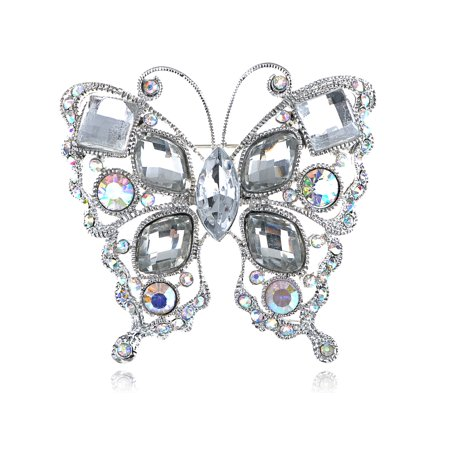 Geometric Shape Stylish Clear Crystal Rhinestone Butterfly Costume Pin Brooch