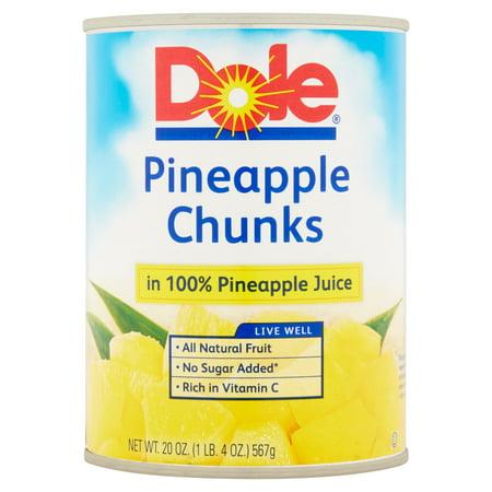 dole pineapple chunks in 100 pineapple juice 20 oz can
