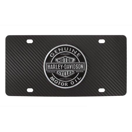 Harley-Davidson Carbon Fiber Vinyl Inlay License Plate with 3D Bar & Shield Genuine Motor Oil