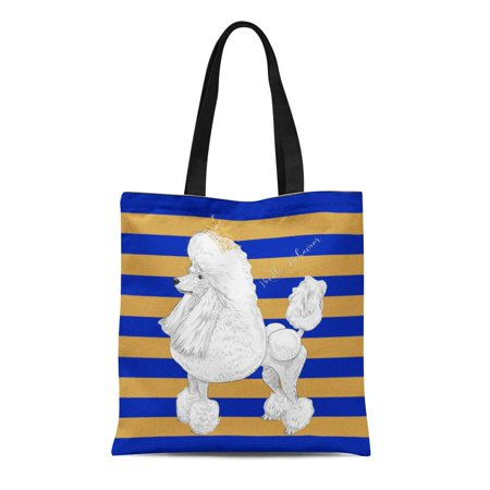 Blue Canvas Tote - LADDKE Canvas Tote Bag Blue Sigma Poodle Behavior Gamma Rho Sgrho Gold 1922 Reusable Handbag Shoulder Grocery Shopping Bags
