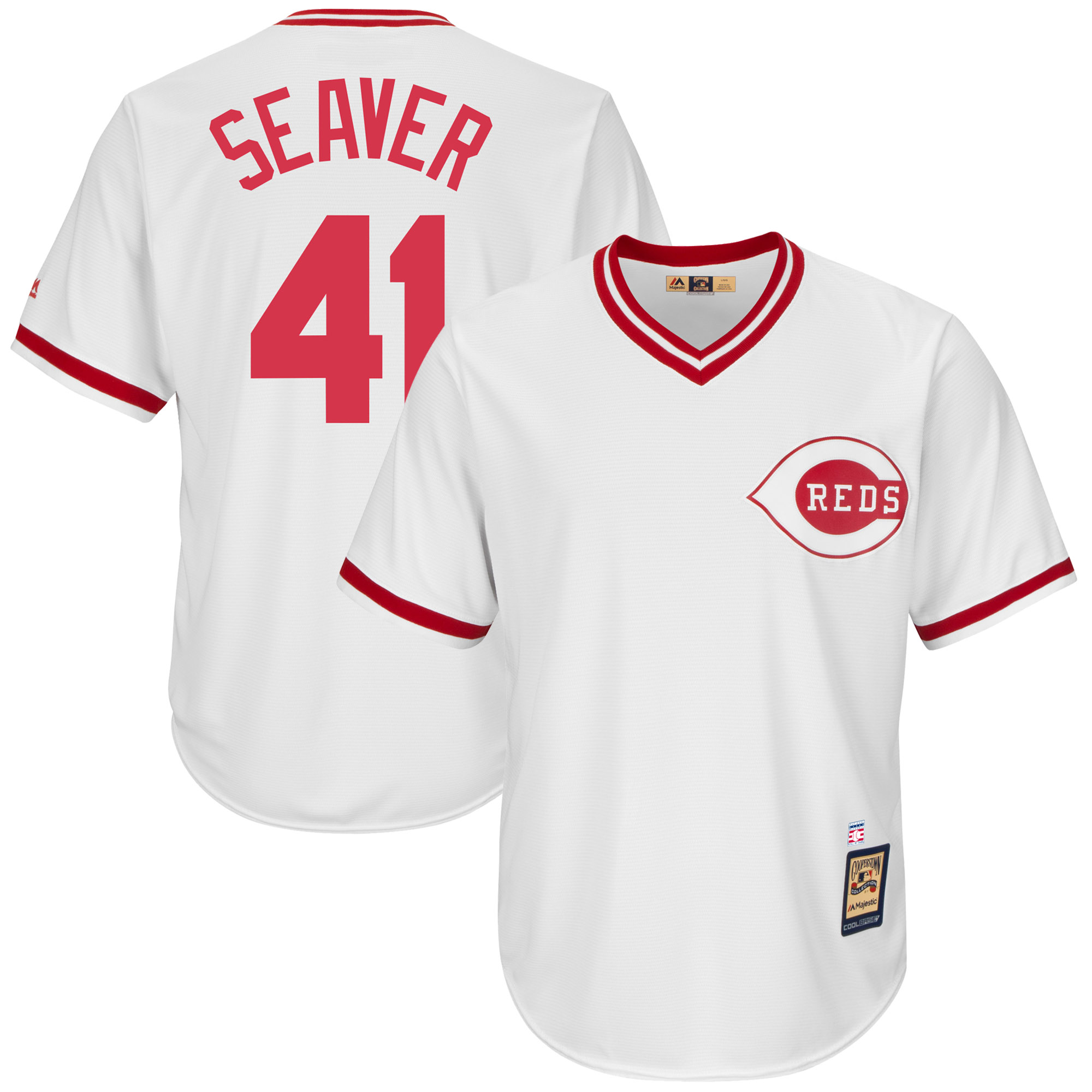 Tom Seaver Cincinnati Reds Majestic Cooperstown Collection Cool Base Player Jersey - White