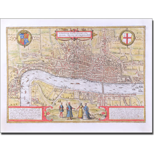 Trademark Art 'Map of London c. 1572' Canvas
