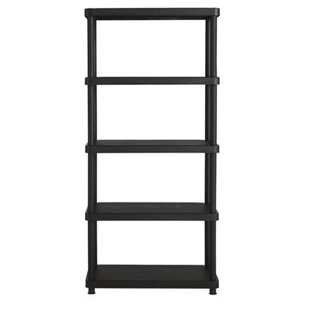 Keter Plastic 5-Tier Shelf, 16″ x 34″ Resin Shelving Unit, Black