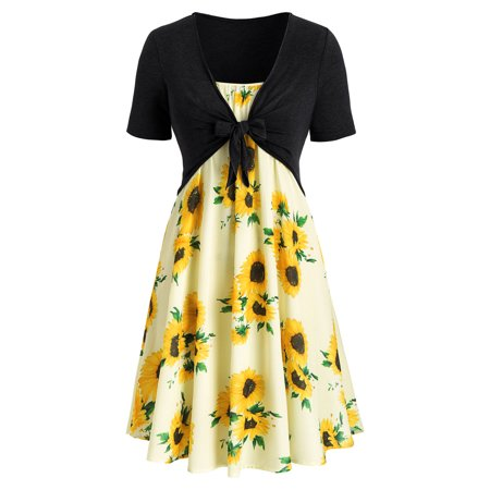 Women Two Piece Dress Fashion Short Sleeve Bow Knot Bandage Top Floral Print Mini Dress Suits