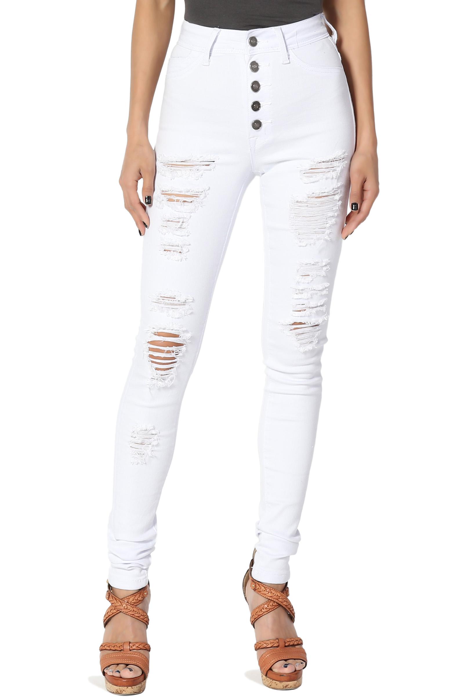 TheMogan Women's Distressed Button Up High Waist Stretch Soft Denim Skinny Jeans