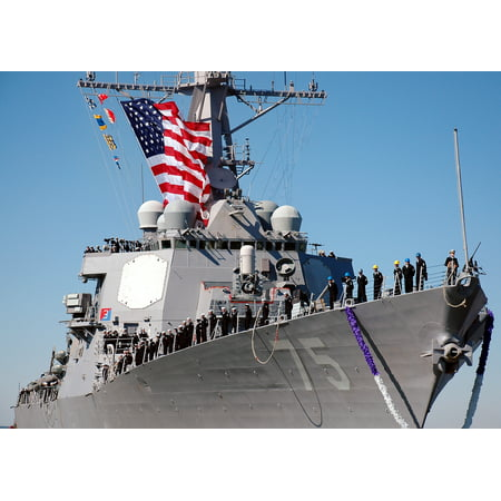 Laminated Poster Sailors Man The Rail As The Guided Missile Destroyer Uss Donald Cook  Ddg 75  Returns To Naval Stati Poster Print 24 X 36