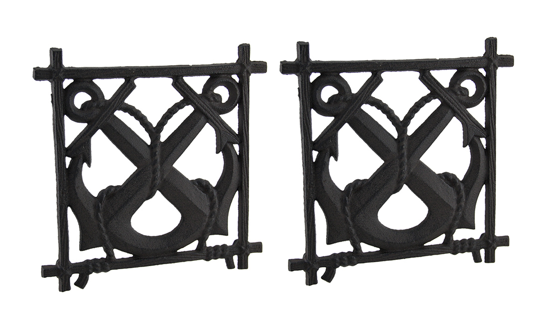 2 Piece Rustic Brown Crossed Nautical Anchors Cast Iron Trivet Set by J.D. YEATTS IMPORTS