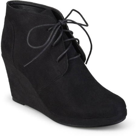 Brinley Co. Women's Wedge Faux Suede Booties (Black Sequin Booties)