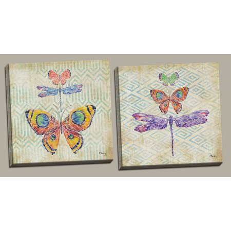 Gango Home Decor Watercolor Monarch Butterfly And Dragonfly Wall Art By Paul Brent Two Multi Color 12x12in Hand Stretched Canvases Ready To Hang