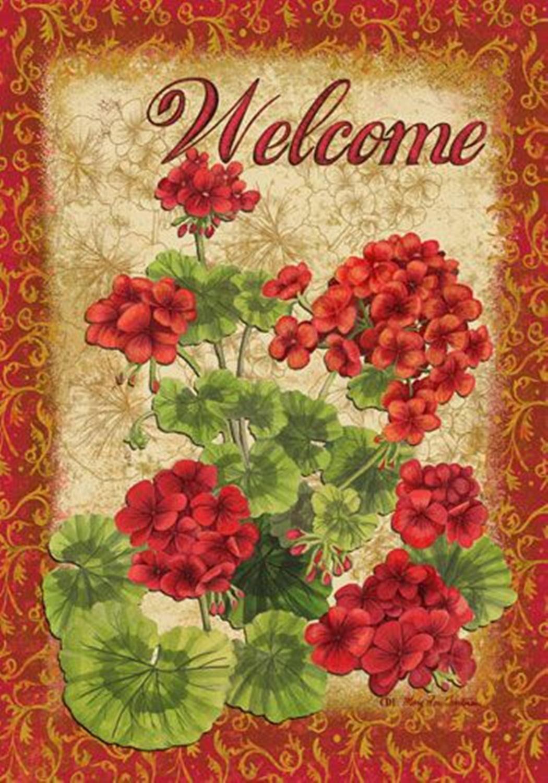 """Red Geraniums Flag Decorative 28/"""" x 40/"""""""